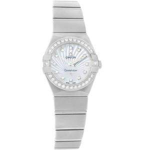 Omega MOP Stainless Steel Diamond Constellation 123.15.24.60.55.004 Women's Wristwatch 24MM