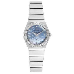 Omega Blue MOP Diamond and Stainless Steel Constellation Quartz 123.15.24.60.57.001 Women's Wristwatch 24MM