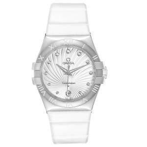 Omega MOP Diamonds Stainless Steel Constellation 123.12.35.60.52.001 Women's Wristwatch 35 MM