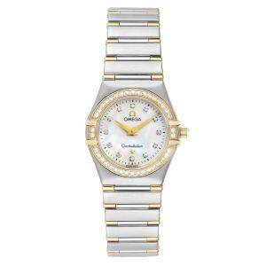 Omega MOP Diamonds 18K Yellow Gold And Stainless Steel Constellation My Choice 1377.75.00 Women's Wristwatch 25.5 MM