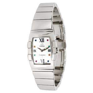 Omega White Stainless Steel Sapphire Quadrella 1584.79.00 Women's Wristwatch 19MM