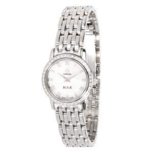 Omega White Stainless Steel Diamond DeVille Prestige 4575.71.00 Women's Wristwatch 22MM