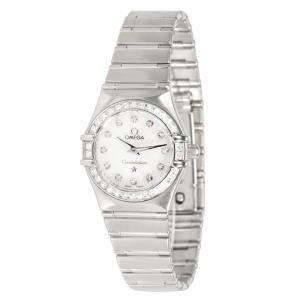 Omega White Stainless Steel Diamond Constellation 111.15.23.60.55.001 Women's Wristwatch 22MM