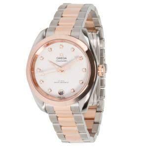 Omega Silver 18K Rose Gold Diamond Aqua Terra 150M 220.20.34.20.52.001 Women's Wristwatch 34MM