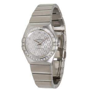 Omega Silver Stainless Steel Diamond Constellation 123.15.24.60.52.001 Women's Wristwatch 24MM