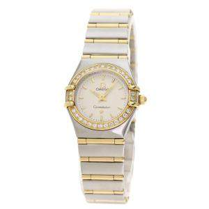 Omega White Diamonds 18K Yellow Gold And Stainless Steel Constellation Quartz Women's Wristwatch 23 MM