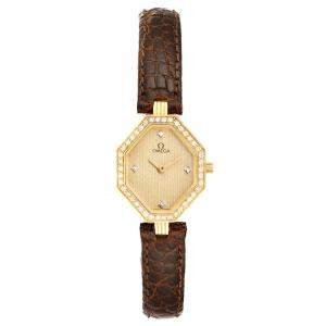 Omega Champagne Diamond 18K Yellow Gold De Ville Mini Cocktail 1450 Women's Wristwatch 22 x 18 MM