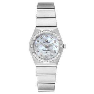 Omega Silver Diamond Stainless Steel Constellation 123.15.24.60.52.001 Women's Wristwatch 27 M