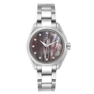 """ساعة يد رجالية أوميغا """"اكوا تيرا 231.10.34.20.57.001"""" ستانلس ستيل و ألماس و صدف سوداء 34 مم"""