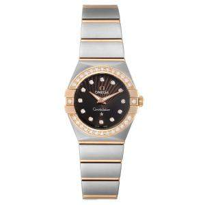 Omega Brown MOP Diamonds 18K Rose Gold And Stainless Steel Constellation 123.25.24.60.63.001 Women's Wristwatch 26 MM