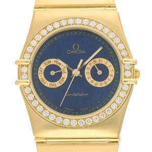 Omega Blue Diamonds 18K Yellow Gold Constellation BA496.1071.0E0 Women's Wristwatch 33 MM