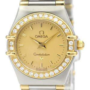 Omega Champagne Diamonds 18K Yellow Gold And Stainless Steel Constellation 1367.10 Women's Wristwatch 22 MM