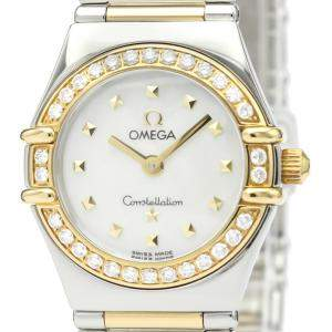 Omega MOP Diamonds 18K Yellow Gold And Stainless Steel Constellation My Choice 1365.71 Women's Wristwatch 22 MM