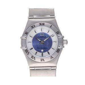 Omega Blue/White Stainless Steel Constellation 1562.84 Quartz Women's Wristwatch 23 MM