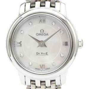 Omega MOP Diamonds Stainless Steel De Ville Prestige Quartz 424.10.24.60.55.001 Women's Wristwatch 24 MM