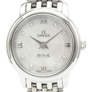 """ساعة يد نسائية أوميغا """"دي فيل بريستيغ كوارتز 424.10.24.60.55.001"""" ستانلس ستيل و ألماس و صدف 24 مم"""