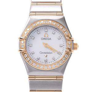 Omega MOP Diamond 18K Yellow Gold And Stainless Steel Constellation 1267.75 Quartz Women's Wristwatch 22 MM