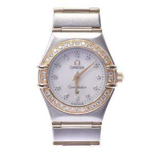 Omega MOP Diamonds 18K Yellow Gold And Stainless Steel Constellation 1267.75 Quartz Women's Wristwatch 22 MM
