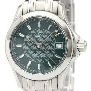 Omega Green Stainless Steel Seamaster 120M Jacques Mayol 2586.70 Women's Wristwatch 26 MM