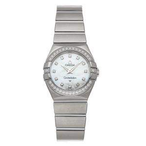 Omega MOP Diamonds Stainless Steel Constellation 123.15.27.60.55.001 Women's Wristwatch 27 MM