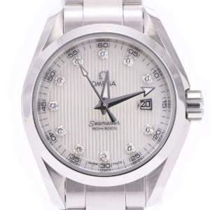 Omega Silver Diamonds Stainless Steel Seamaster Aqua Terra 231.10.30.61.55.001 Men's Wristwatch 28 MM