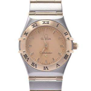 Omega Champagne 18K Yellow Gold And Stainless Steel Mini Constellation 1262.10 Women's Wristwatch 21 MM