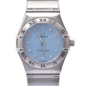 Omega Blue MOP Diamonds Stainless Steel Mini Constellation 1562.85 Women's Wristwatch 22 MM