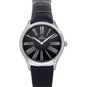 Omega Black Stainless Steel Diamonds Deville Tresor 428.18.36.60.03.001 Women's Wristwatch 36 MM
