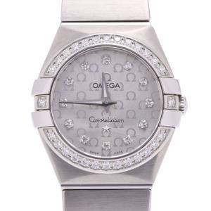 Omega Silver Diamonds Stainless Steel Constellation 123.15.24.60.55.005 Women's Wristwatch 24MM