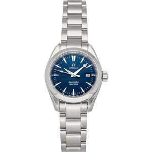Omega Blue Stainless Steel Seamaster Aqua Terra 150M 2577.80.00 Women's Wristwatch 29 MM