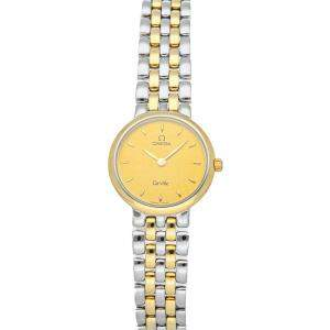 Omega Champagne Gold Tone Stainless Steel De Ville Classic 7260.11.00 Women's Wristwatch 23.5 MM