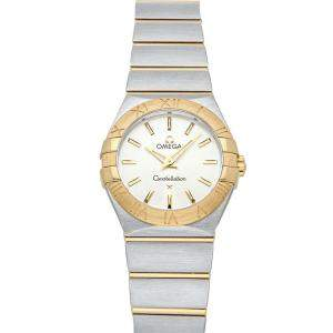 Omega Silver 18K Yellow Gold And Stainless Steel Constellation 123.20.27.60.02.002 Women's Wristwatch 27 MM