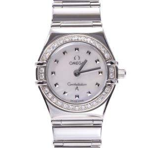 Omega White Diamonds Stainless Steel Constellation 1465.71 Women's Wristwatch 22.5 MM