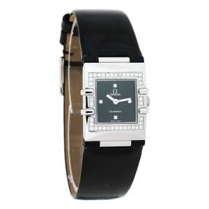 Omega Black Stainless Steel Patent Leather Diamond Constellation Quadra 895.1230 Women's Wristwatch 19 mm