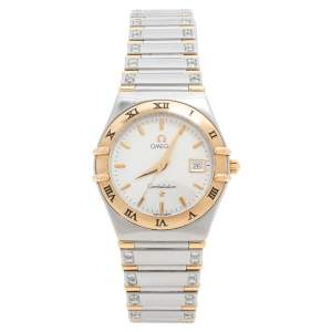 Omega  Silver White 18K Yellow Gold Stainless Steel Diamond Constellation 796.1201 Women's Wristwatch 27.50 mm