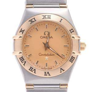 Omega Champagne 18K Yellow Gold And Stainless Steel Constellation 1362.10 Quartz Women's Wristwatch 22 MM