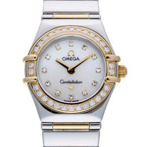 Omega MOP Diamonds 18K Yellow Gold And Stainless Steel Constellation 1360.75 Women's Wristwatch 22 MM