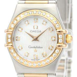 Omega MOP Diamonds 18K Rose Gold And Stainless Steel Constellation Quartz 1360.75 Women's Wristwatch 26 MM