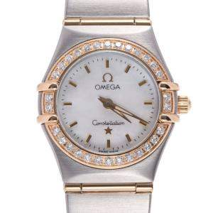 Omega White Diamonds 18K Yellow Gold And Stainless Steel Constellation 1267.70 Women's Wristwatch 22.5 MM