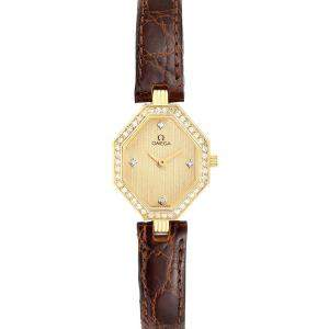 Omega Champagne Diamonds 18K Yellow Gold DeVille Mini Cocktail 1450 Women's Wristwatch 22 x 18 MM
