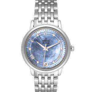 Omega MOP Diamonds Stainless Steel DeVille Prestige 424.10.33.20.57.001 Women's Wristwatch 33 MM