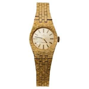 Omega Gold 18K Yellow Gold Ladymatic Vintage Women's Wristwatch 22MM