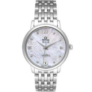 Omega White MOP DeVille Prestige Butterfly Diamond 424.10.33.20.55.001 Women's Wristwatch 32.7 MM
