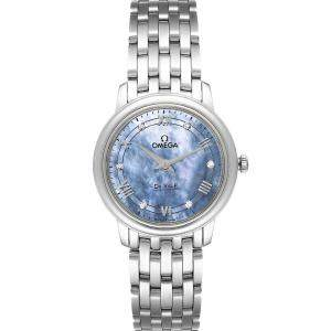 Omega Blue MOP DeVille Prestige Diamond 424.10.27.60.57.001 Women's Wristwatch 27.4MM