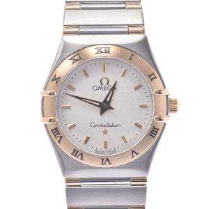 Omega Silver 18k Yellow Gold And Stainless Steel Constellation 1372.30 Quartz Women's Wristwatch 25 MM