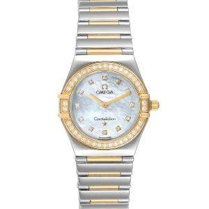 Omega MOP Diamonds 18K Yellow Gold And Stainless Steel Constellation My Choice 1376.71.00 Women's Wristwatch 25.5 MM