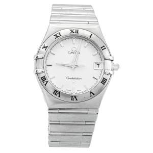 Omega White Stainless Steel Constellation 396.1201 Women's Wristwatch 33mm