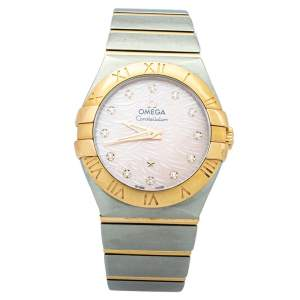 Omega Coral Mother Of Pearl 18K Yellow Gold & Stainless Steel Constellation Women's Wristwatch 27mm
