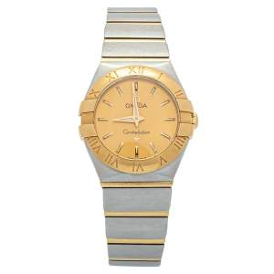Omega Champagne 18K Yellow Gold Stainless Steel Constellation Women's Wristwatch 24 mm
