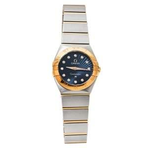 ساعة يد نسائية أوميغا كونستليشن 123.20.24.60.53.001 ستانلس ستيل ذهب أصفر عيار 18 زرقاء 24مم